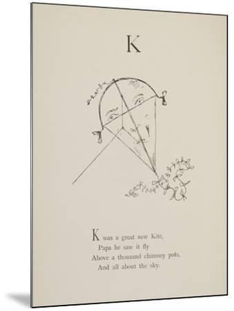 Kite Illustrations and Verses From Nonsense Alphabets Drawn and Written by Edward Lear.-Edward Lear-Mounted Giclee Print