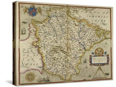 Map Of Devon-Christopher Saxton-Stretched Canvas Print