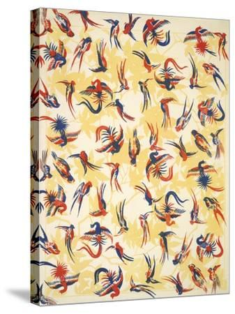 Bird Design On a Yellow Background--Stretched Canvas Print