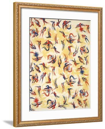 Bird Design On a Yellow Background--Framed Giclee Print