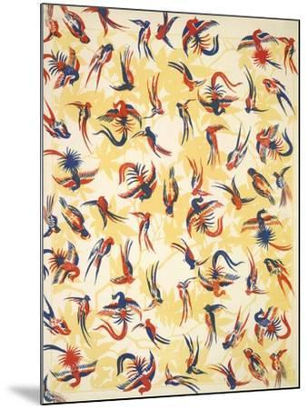 Bird Design On a Yellow Background--Mounted Giclee Print