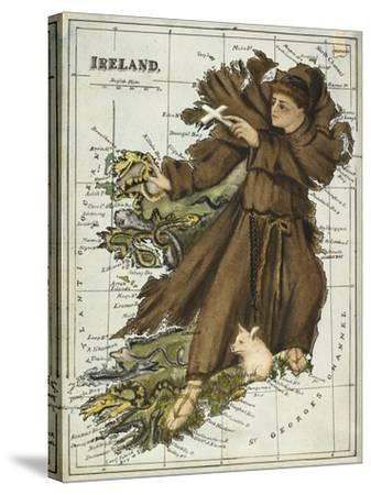 Map Of Ireland Representing St Patrick Driving Out the Snakes-Lilian Lancaster-Stretched Canvas Print