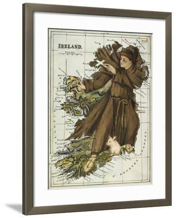 Map Of Ireland Representing St Patrick Driving Out the Snakes-Lilian Lancaster-Framed Giclee Print