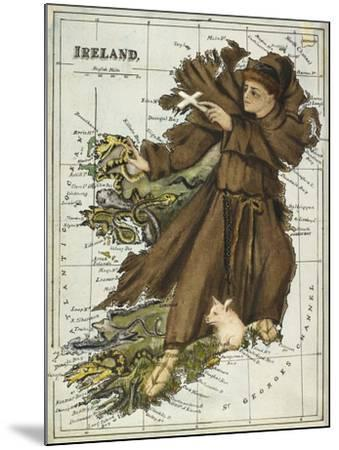 Map Of Ireland Representing St Patrick Driving Out the Snakes-Lilian Lancaster-Mounted Giclee Print