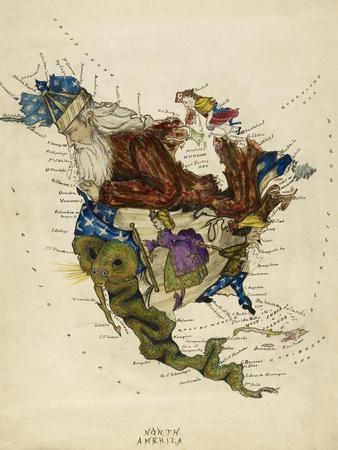 Map Showing North America As a Collection Of Fairy Tale Characters.-Lilian Lancaster-Framed Giclee Print