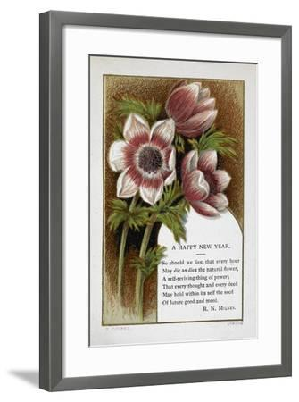 New Year Greetings Card With Floral Decoration and Poem by R. N. Milnes-W. Dickes-Framed Giclee Print