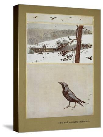 The Old Country Mansion - a Crow With a Large Country House in the Snow-Cecil Aldin-Stretched Canvas Print