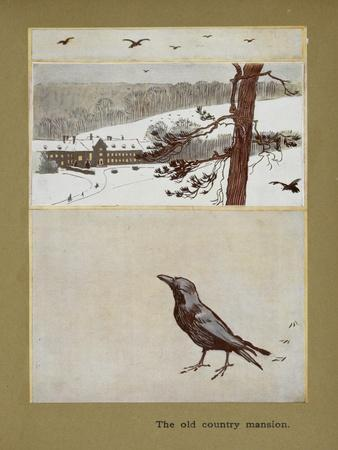 The Old Country Mansion - a Crow With a Large Country House in the Snow-Cecil Aldin-Giclee Print