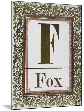 Letter F: Fox. Gold Letter With Decorative Border--Mounted Giclee Print
