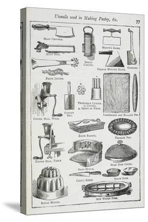 Utensils Used in Making Pastry, Including Various Knives, Moulds and Tins-Isabella Beeton-Stretched Canvas Print