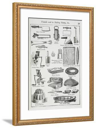 Utensils Used in Making Pastry, Including Various Knives, Moulds and Tins-Isabella Beeton-Framed Giclee Print