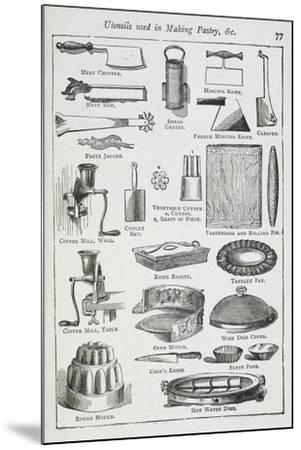 Utensils Used in Making Pastry, Including Various Knives, Moulds and Tins-Isabella Beeton-Mounted Giclee Print