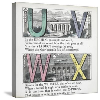 Illustrations Of Letters U, V, W and X: Urchin, Viaduct, Whistle and X-press--Stretched Canvas Print