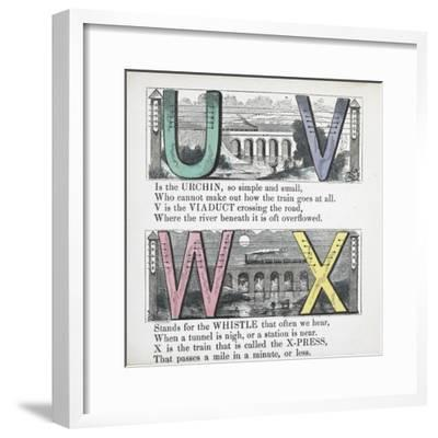 Illustrations Of Letters U, V, W and X: Urchin, Viaduct, Whistle and X-press--Framed Giclee Print