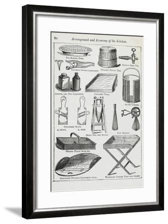 Arrangement and Economy Of the Kitchen. Various Kitchen Utensils-Isabella Beeton-Framed Giclee Print
