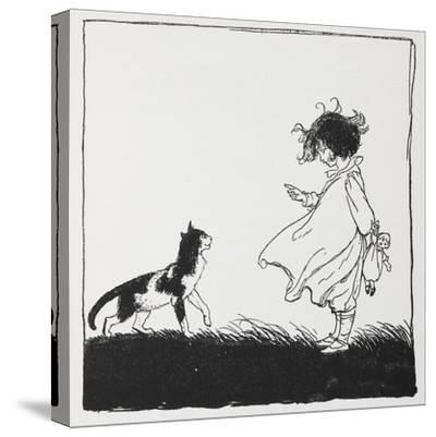 A Girl With a Doll Tells Off Her Cat-Arthur Rackham-Stretched Canvas Print
