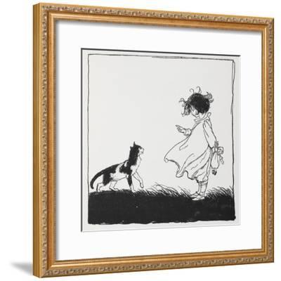 A Girl With a Doll Tells Off Her Cat-Arthur Rackham-Framed Giclee Print