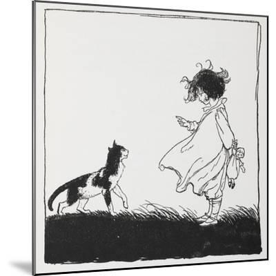 A Girl With a Doll Tells Off Her Cat-Arthur Rackham-Mounted Giclee Print