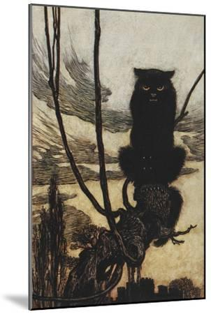 Illustration From Jorinda and Joringel Of a Black Cat-Arthur Rackham-Mounted Giclee Print