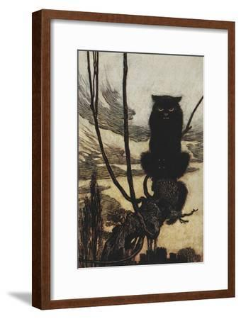 Illustration From Jorinda and Joringel Of a Black Cat-Arthur Rackham-Framed Giclee Print