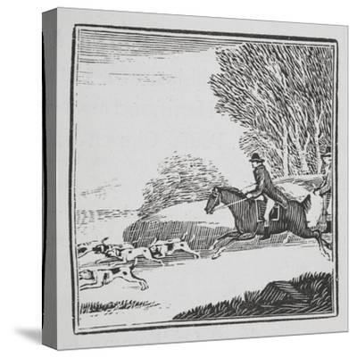 Engraving Of a Man Out Hunting On Horseback With Dogs-Thomas Bewick-Stretched Canvas Print