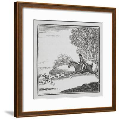 Engraving Of a Man Out Hunting On Horseback With Dogs-Thomas Bewick-Framed Giclee Print