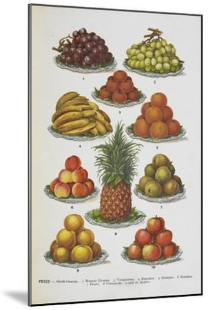 Assorted Fruits Including Pineapple-Isabella Beeton-Mounted Giclee Print