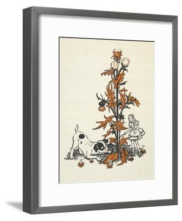 Shrunken Alice and the Puppy by a Giant Thistle.-Gwynedd Hudson-Framed Giclee Print