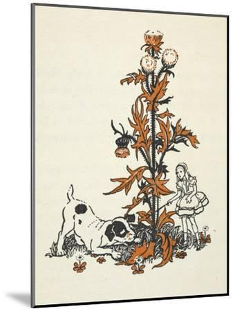 Shrunken Alice and the Puppy by a Giant Thistle.-Gwynedd Hudson-Mounted Giclee Print