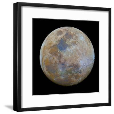 The Almost Full Moon in Color-Stocktrek Images-Framed Photographic Print