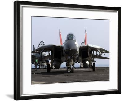 An F-14D Tomcat On the Flight Deck of USS Theodore Roosevelt-Stocktrek Images-Framed Photographic Print