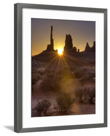 Sunburst Through the Totem Pole Formation in Monument Valley, Utah-Stocktrek Images-Framed Photographic Print