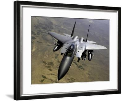 An F-15E Strike Eagle Aircraft in Flight Over Afghanistan-Stocktrek Images-Framed Photographic Print