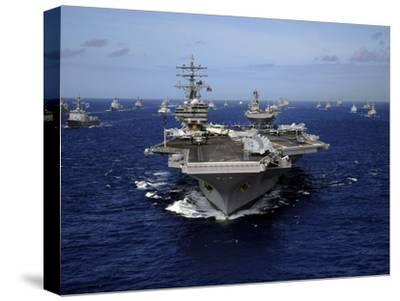 Aircraft Carrier USS Ronald Reagan Leads a Mass Formation of Ships Through the Pacific Ocean-Stocktrek Images-Stretched Canvas Print