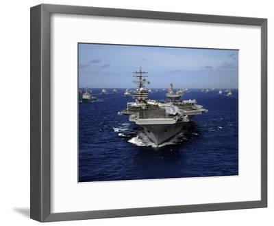 Aircraft Carrier USS Ronald Reagan Leads a Mass Formation of Ships Through the Pacific Ocean-Stocktrek Images-Framed Photographic Print