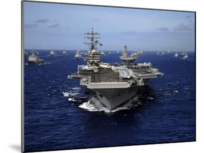 Aircraft Carrier USS Ronald Reagan Leads a Mass Formation of Ships Through the Pacific Ocean-Stocktrek Images-Mounted Photographic Print
