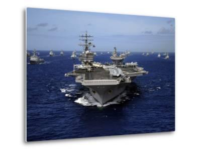 Aircraft Carrier USS Ronald Reagan Leads a Mass Formation of Ships Through the Pacific Ocean-Stocktrek Images-Metal Print