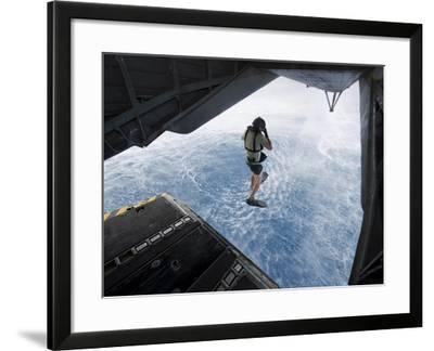 Air Force Pararescueman Jumps from a CH-53E Super Stallion Helicopter-Stocktrek Images-Framed Photographic Print