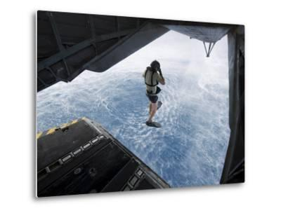 Air Force Pararescueman Jumps from a CH-53E Super Stallion Helicopter-Stocktrek Images-Metal Print