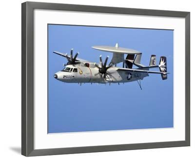 An E-2C Hawkeye in Flight Over the Arabian Sea-Stocktrek Images-Framed Photographic Print