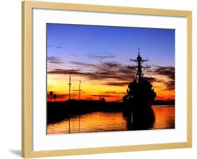 USS Spruance Is Pierside at Naval Weapons Station Seal Beach, California-Stocktrek Images-Framed Photographic Print