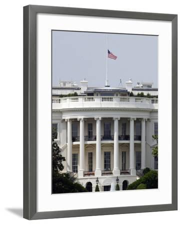 The American Flag Flies at Half-staff Atop the White House-Stocktrek Images-Framed Photographic Print