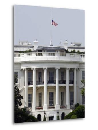 The American Flag Flies at Half-staff Atop the White House-Stocktrek Images-Metal Print