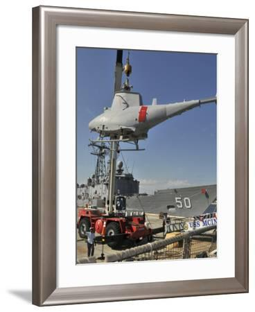 An MQ-8B Fire Scout Is Craned of USS McInerney-Stocktrek Images-Framed Photographic Print