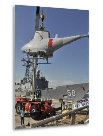 An MQ-8B Fire Scout Is Craned of USS McInerney-Stocktrek Images-Metal Print