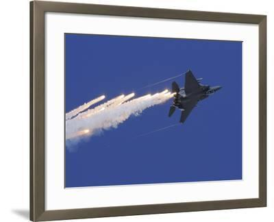 An F-15E Strike Eagle Releases Flares-Stocktrek Images-Framed Photographic Print