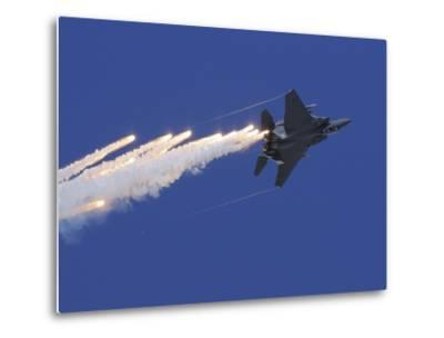 An F-15E Strike Eagle Releases Flares-Stocktrek Images-Metal Print