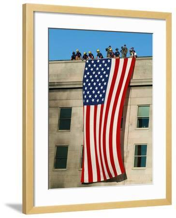 Fire And Rescue Workers Unfurl a Huge American Flag Over the Side of the Pentagon-Stocktrek Images-Framed Photographic Print