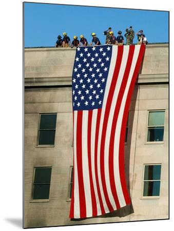 Fire And Rescue Workers Unfurl a Huge American Flag Over the Side of the Pentagon-Stocktrek Images-Mounted Photographic Print