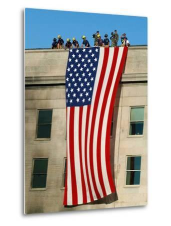 Fire And Rescue Workers Unfurl a Huge American Flag Over the Side of the Pentagon-Stocktrek Images-Metal Print